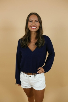 Honey Punch Navy Distressed Sweater - Product List Image