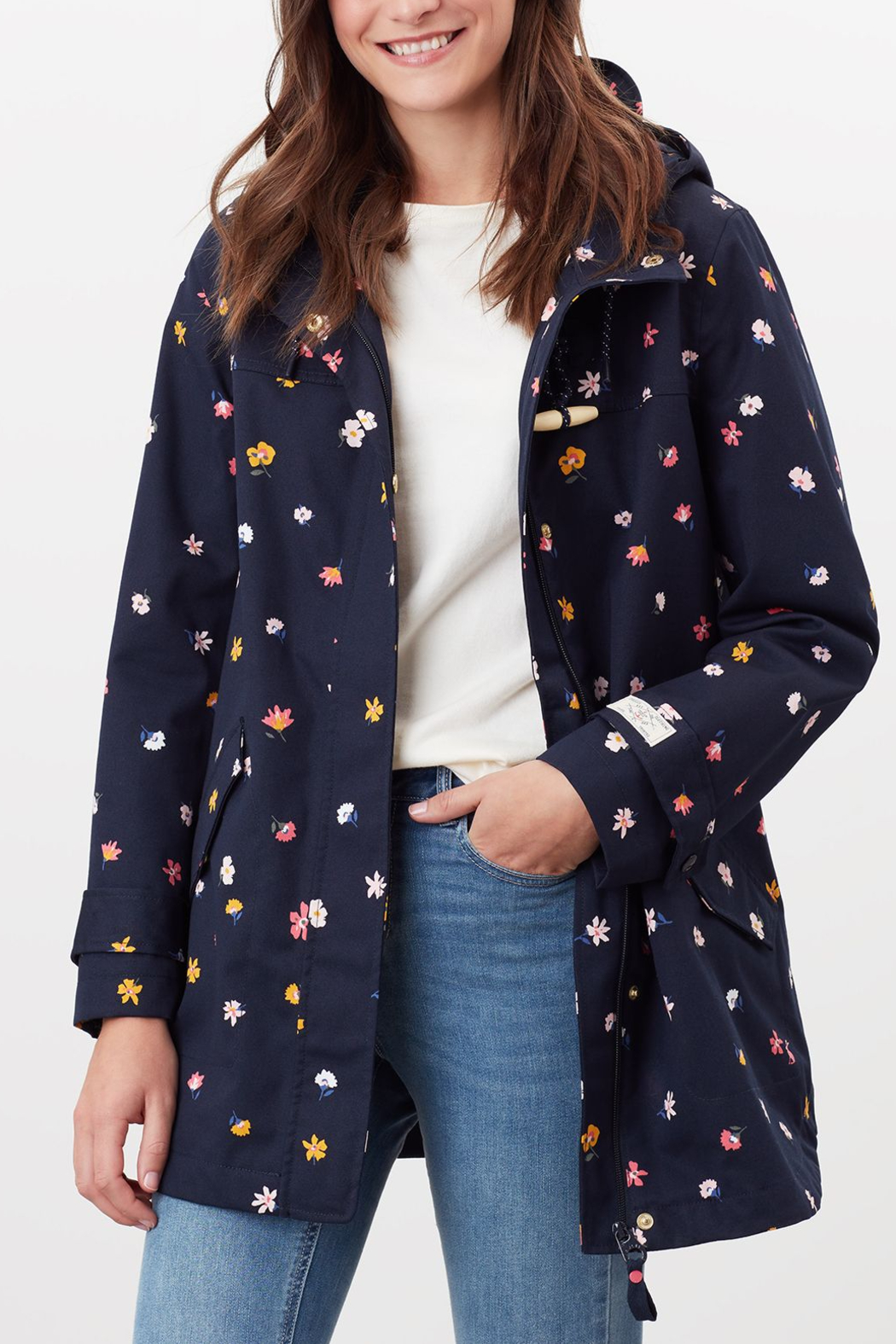 Joules Navy Ditsy Coast Mid Length Jacket - Front Cropped Image