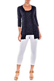 Alison Sheri Navy Dot 2-Fer Crinkle Tunic - Product Mini Image