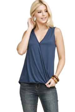 Doubleju Navy Draped Front Top - Alternate List Image