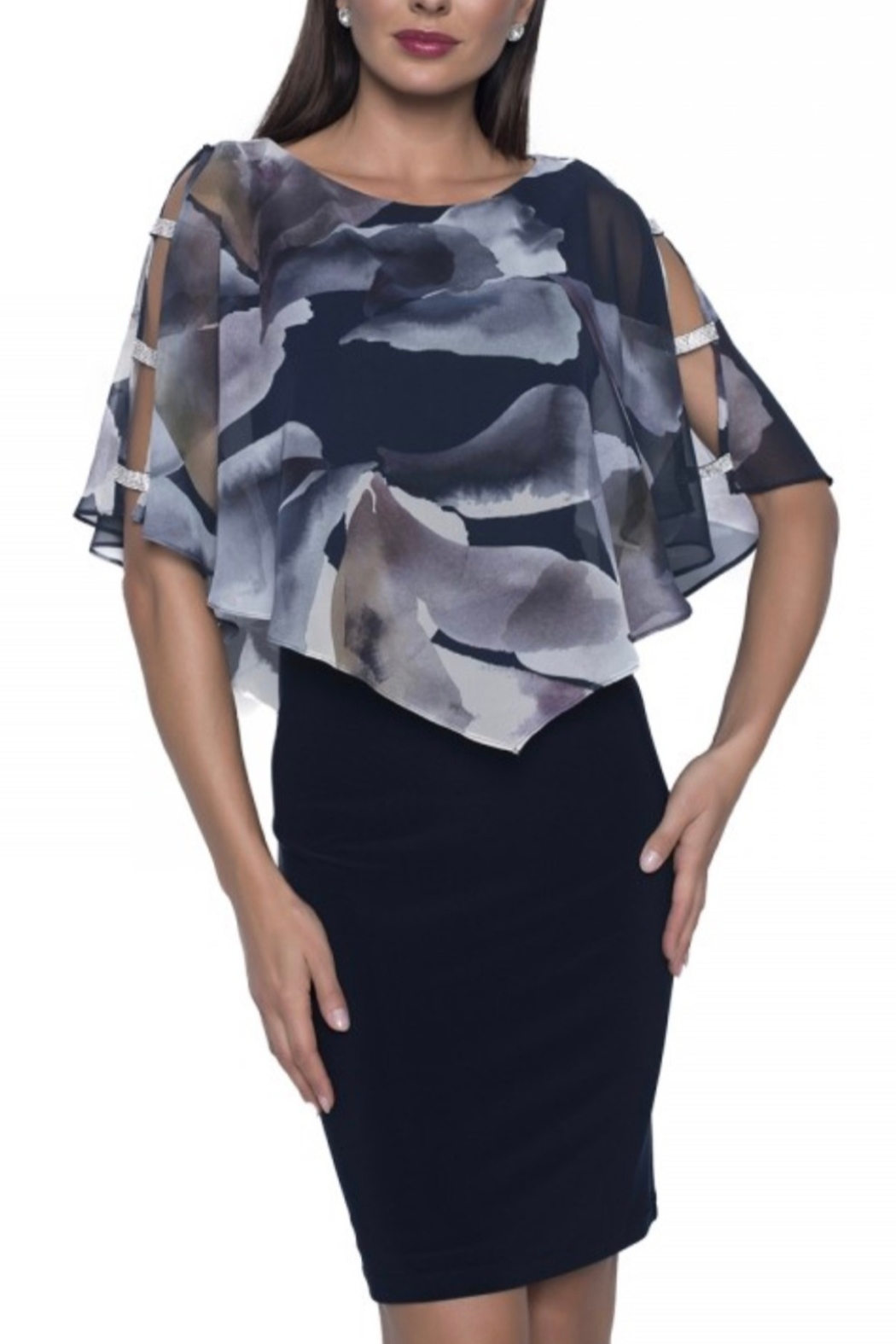 Frank Lyman Navy Dress fitted with sheer floral overlay with rhinestone accent - Front Cropped Image