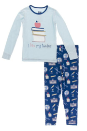 Kickee Pants Navy Education Pajama Set - Product Mini Image