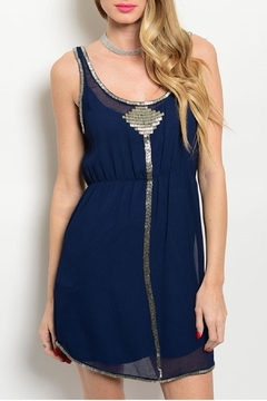 Aryn K Navy Embellished Dress - Product List Image