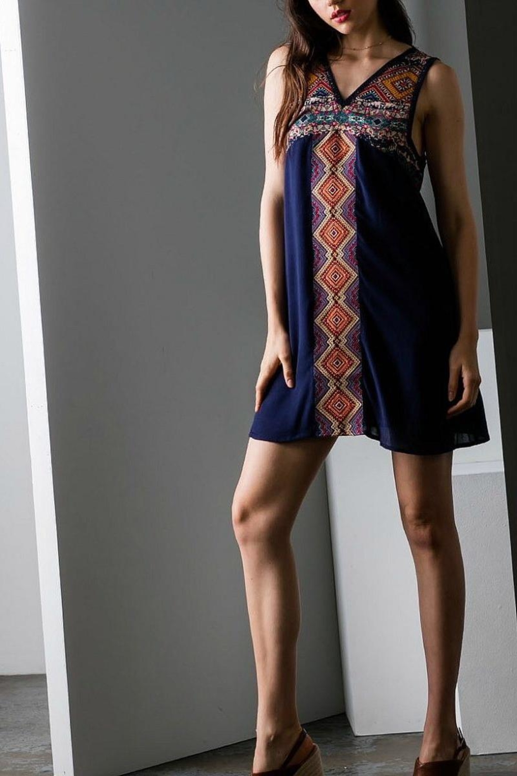 THML Clothing Navy Embroidered Dress - Main Image
