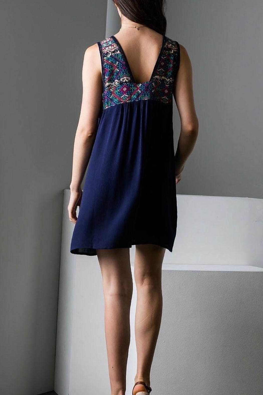 THML Clothing Navy Embroidered Dress - Front Full Image