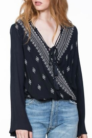 En Creme Navy Embroidered Top - Product Mini Image