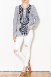 Dylan by True Grit Navy Embroidery Artisan Stripe Blouse - Product Mini Image
