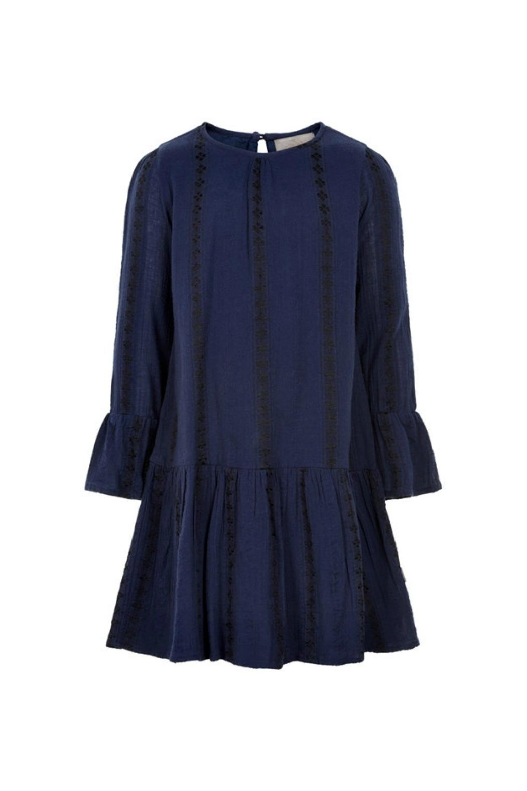 Creamie Navy Embroidery-Detail Dress - Front Full Image