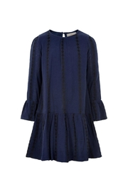 Creamie Navy Embroidery-Detail Dress - Front full body