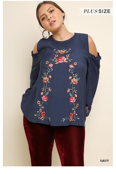 Shoptiques Product: Navy Embroidery Top