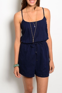 may & july Navy Eyelet Romper - Product List Image