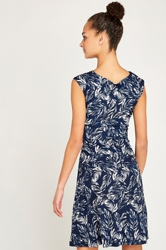 Apricot Navy Feather Print Front Tie Dress - Alternate List Image