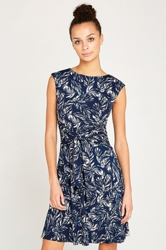 Apricot Navy Feather Print Front Tie Dress - Product List Image