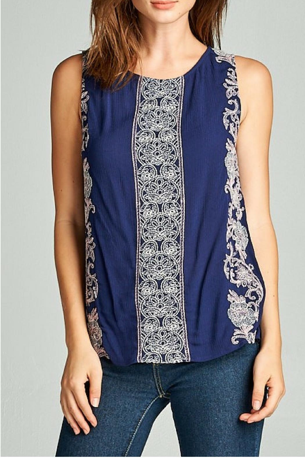 Renee C Navy Fishtail Blouse - Front Cropped Image