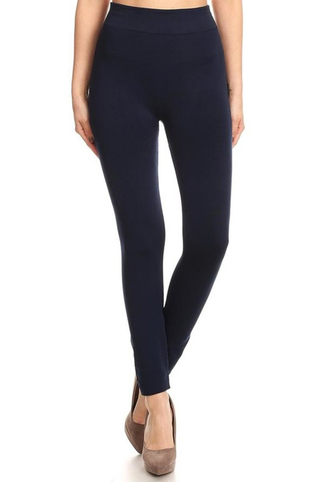 May 23 Navy Fleece Leggings - Front Cropped Image