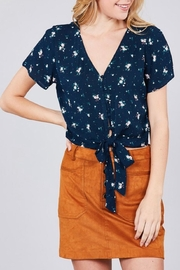 Active Basic Navy Floral Crop-Top - Product Mini Image