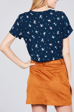 Active Basic Navy Floral Crop-Top - Alternate List Image