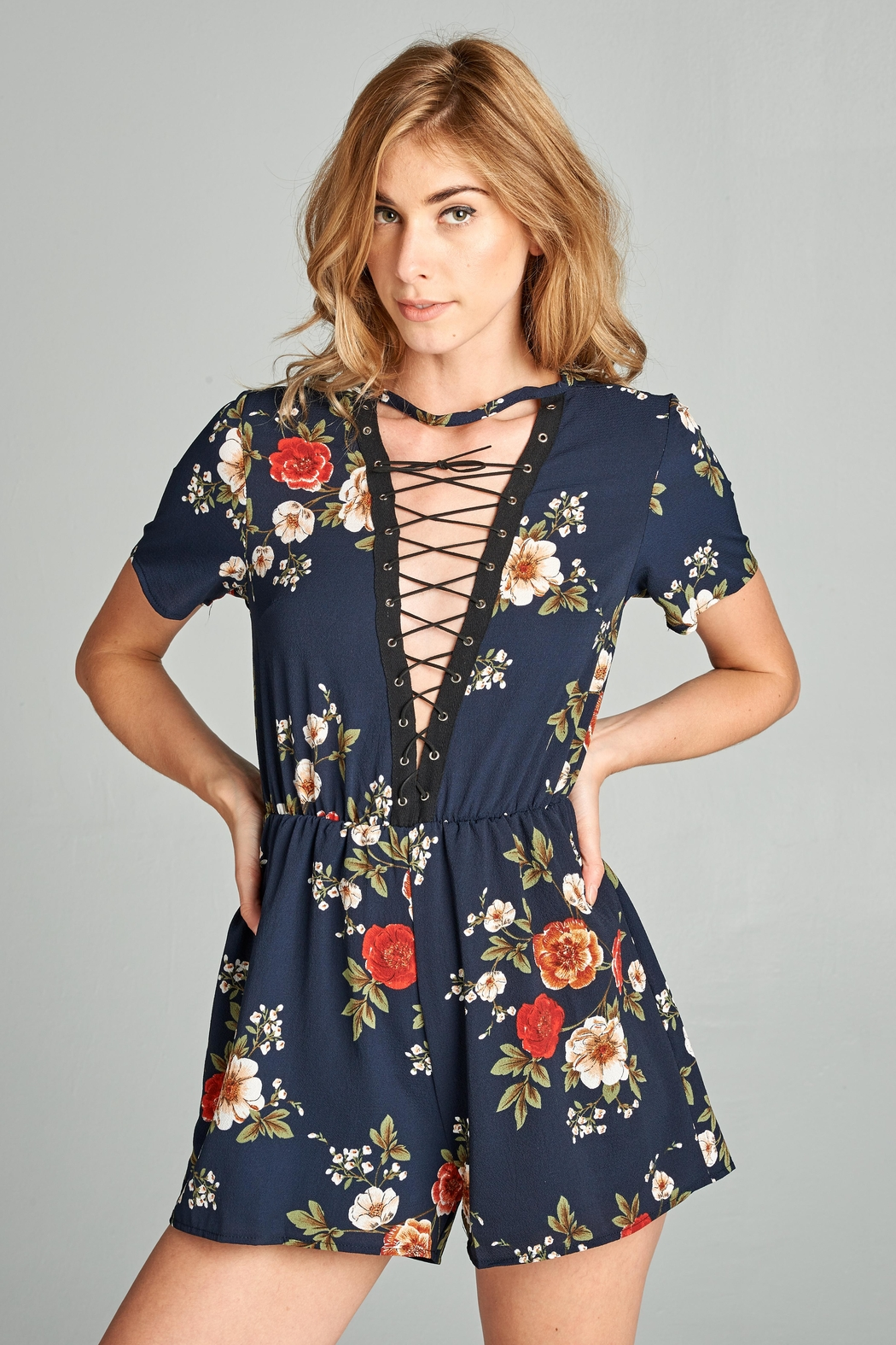 Racine Navy-Floral Lace-Up Romper - Main Image