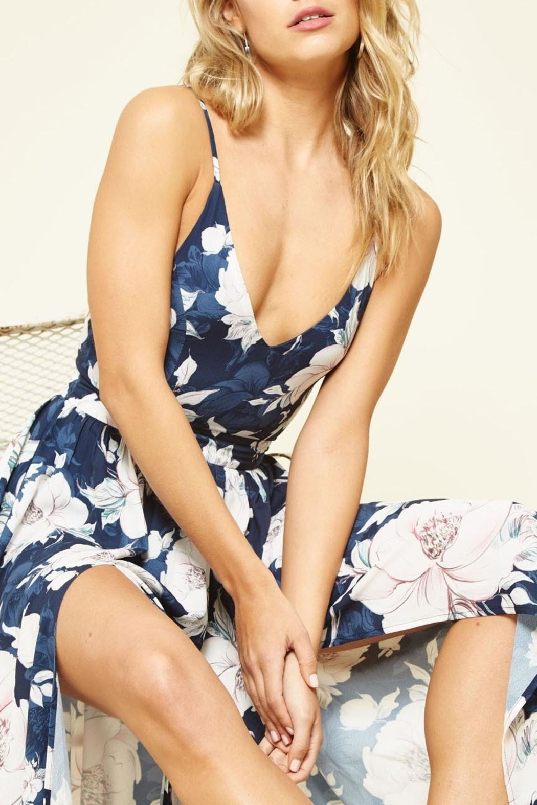 Promesa USA Navy Floral Maxi-Dress - Side Cropped Image
