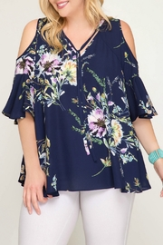 She + Sky Navy Floral Print Cold Shoulder Blouse - Product Mini Image