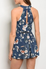 Maronie  Navy Floral Romper - Front full body