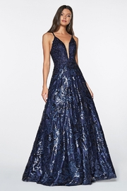 Cinderella Divine Navy Floral Sequin Long Formal Dress - Product Mini Image