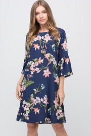 Les Amis Navy-Floral Shift Dress - Product Mini Image