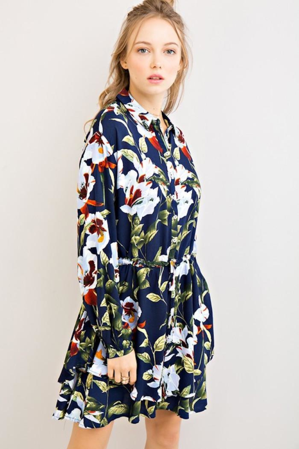 Compendium Navy Floral Shirtdress - Front Full Image
