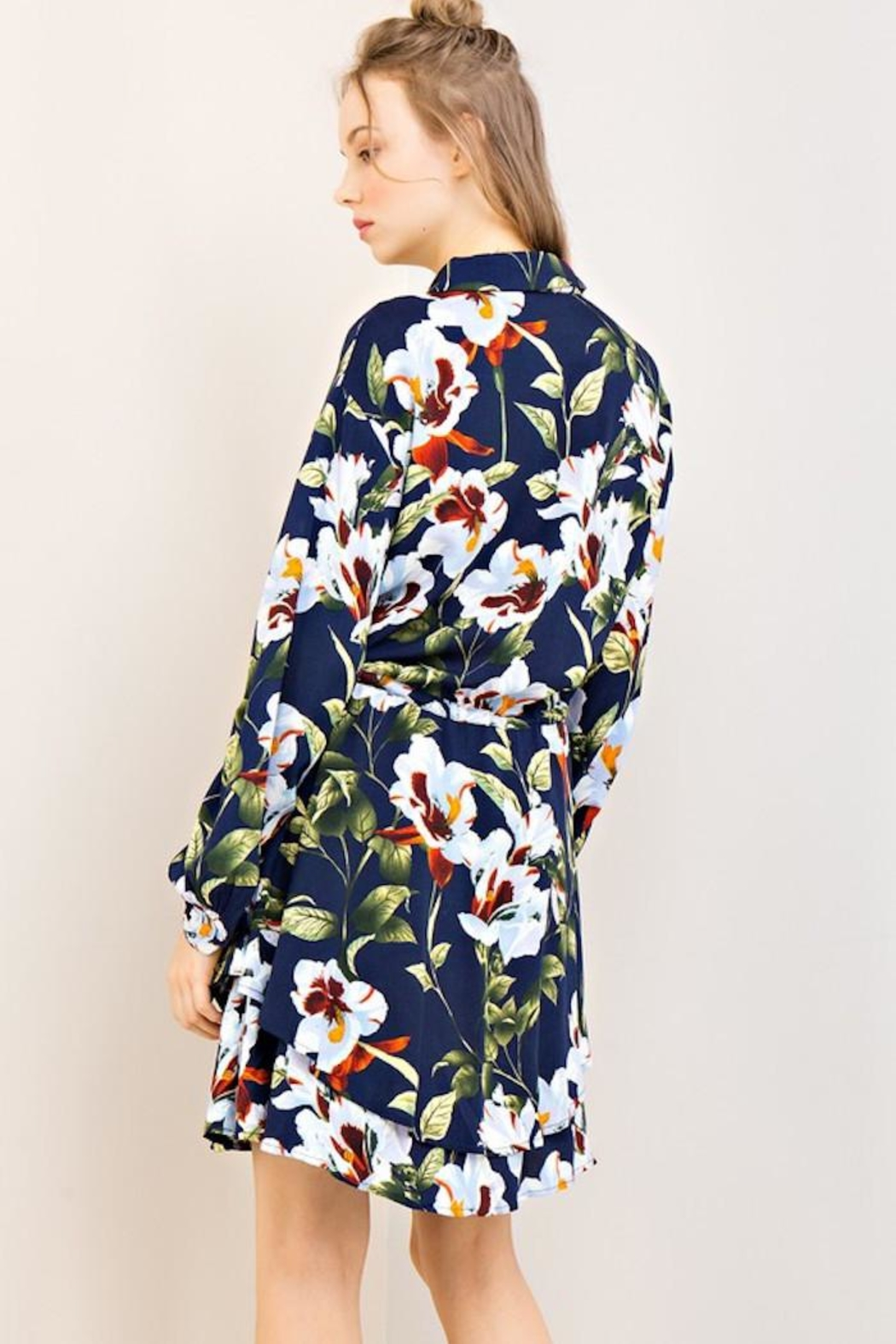 Compendium Navy Floral Shirtdress - Side Cropped Image
