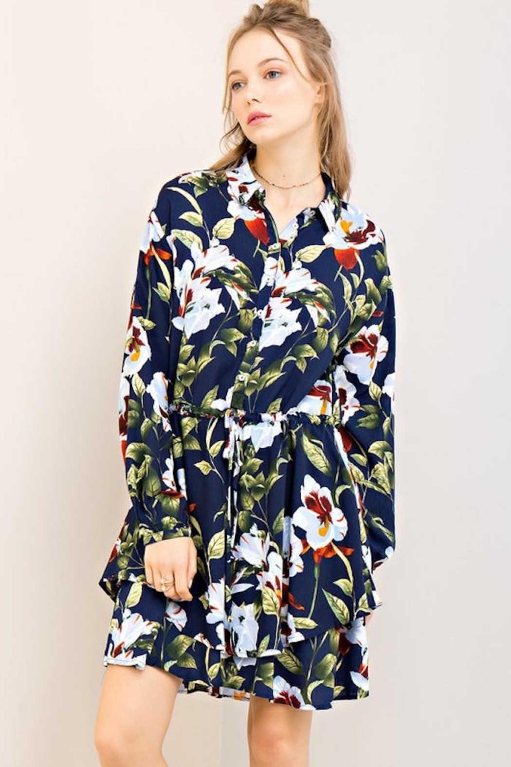 Compendium Navy Floral Shirtdress - Main Image
