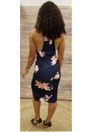 L'atiste Navy Floral Slit Dress - Front full body