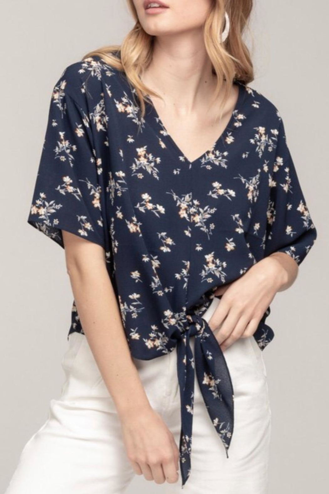 Everly Navy Floral Top - Main Image