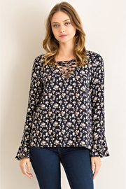 People Outfitter Navy Floral Top - Product Mini Image