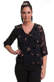 Bali Corp. Navy Floral Top - Product Mini Image