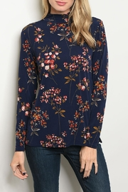 Les Amis Navy Floral Top - Product Mini Image