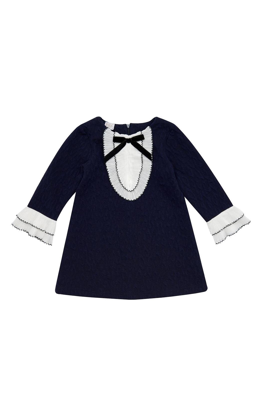 Paz Rodriguez Navy Frill Dress. - Main Image