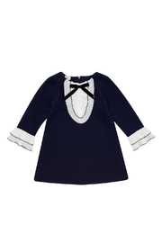 Paz Rodriguez Navy Frill Dress. - Front cropped