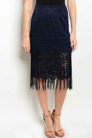 Luluman Navy Fringe Skirt - Product Mini Image