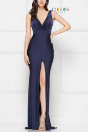 colors Navy Gathered Gown - Product Mini Image