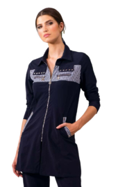 Alison Sheri Navy Gingham Accent Active Wear Jacket - Product Mini Image