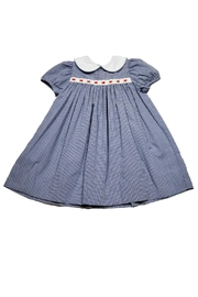 Lullaby Set Navy-Gingham Eyelet-Ribbon Dress - Front cropped