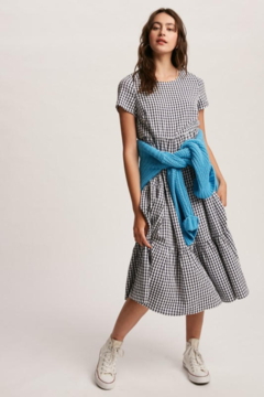 Shoptiques Product: navy gingham tiered midi dress