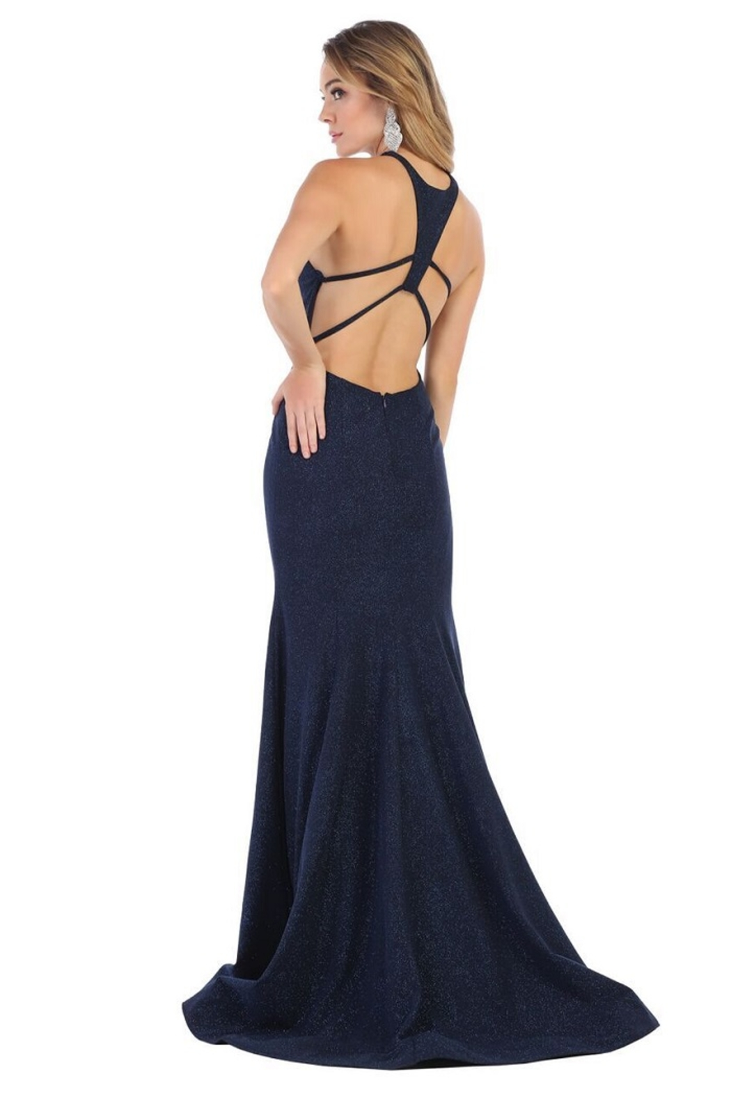 May Queen  Navy Glitter Fit & Flare Formal Long Dress - Front Full Image