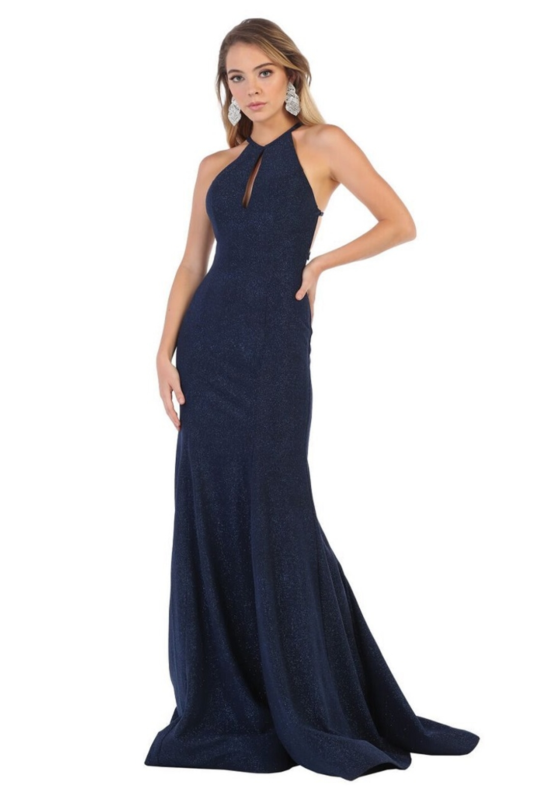 May Queen  Navy Glitter Fit & Flare Formal Long Dress - Main Image