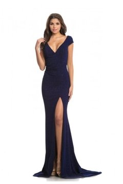 Johnathan Kayne Navy Glitter Gown - Product List Image