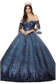 DANCING QUEEN Navy Glitter Off Shoulder Ball Gown - Product Mini Image