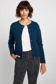 People Tree Navy Honeycomb Cardigan - Product Mini Image
