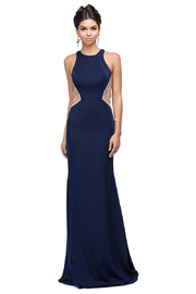 DANCING QUEEN Navy Illusion Long Formal Dress - Product Mini Image