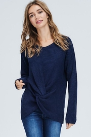 Compendium boutique Navy Knotted Sweater - Product Mini Image
