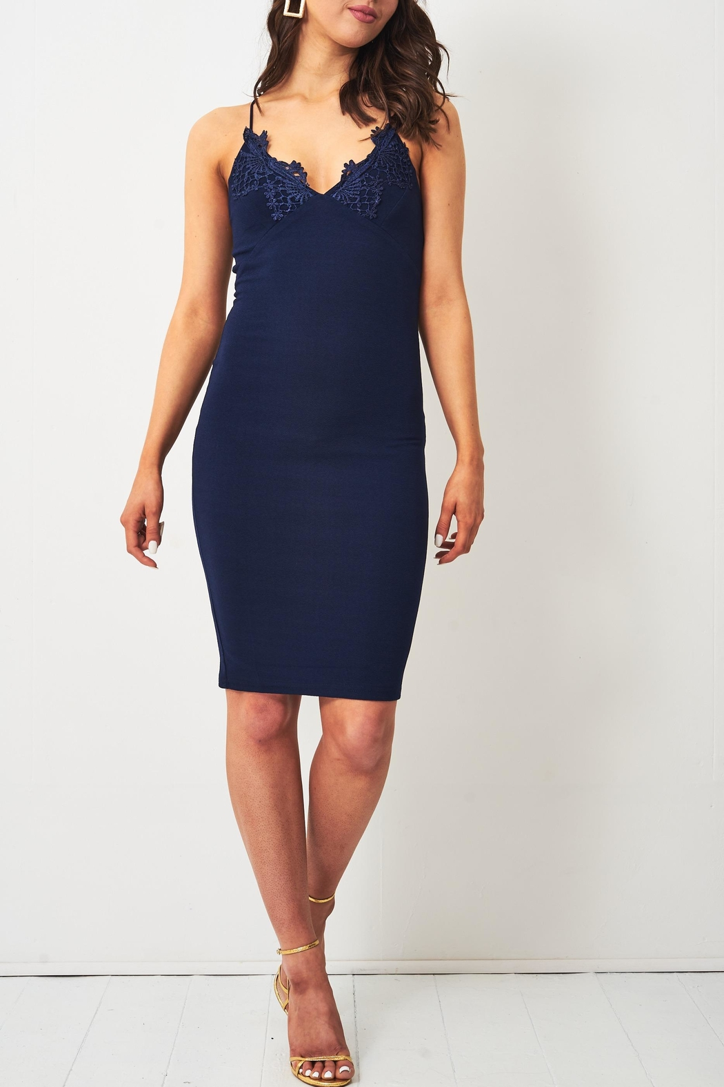 frontrow Navy Lace-Applique Dress - Front Cropped Image